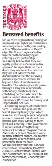 Letter to The Times regarding Cohabitation Reform